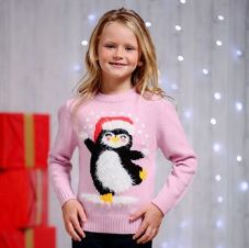 KIDS EYELASH YARN PENGUINE JUMPER